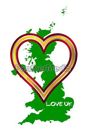 love united kingdom map and heart