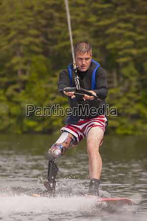 athlete with an artificial leg water