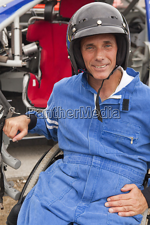 disabled race car driver with spinal