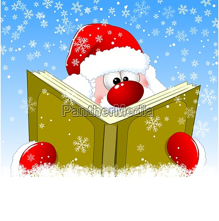 santa is reading a book