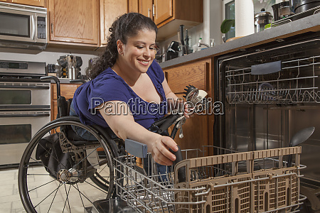 woman with spina bifida using the