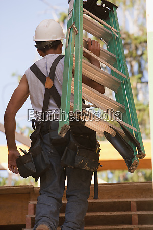 rear view of a carpenter carrying