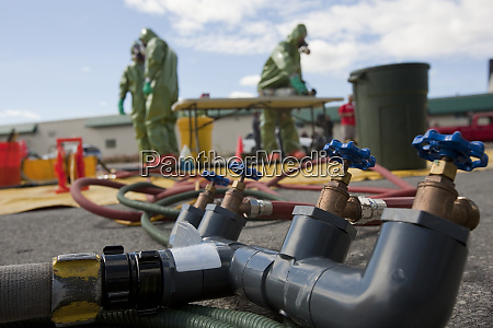 water distribution manifold in hazmat decontamination