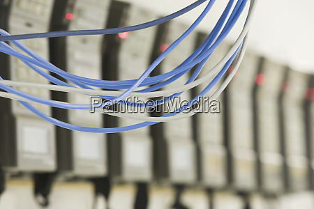 close up of computer cables