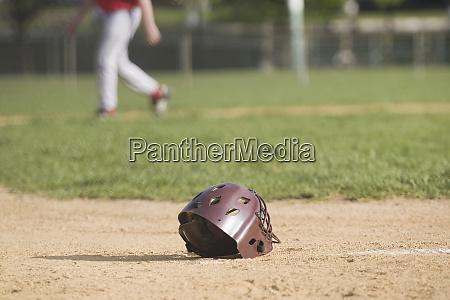 baseball helmet in a baseball field