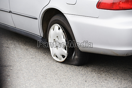 view of a punctured tire