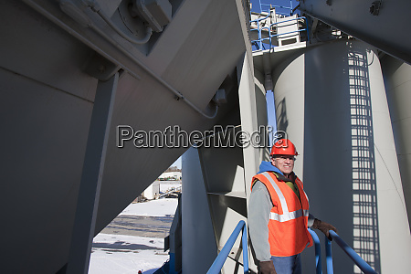 engineer standing on inspection platform at