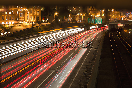 streaks of lights of moving vehicles
