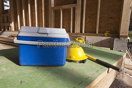 hardhat and ice chest for carpenters