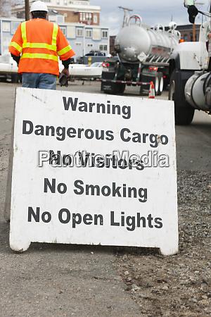 warning dangerous cargo sign at hazardous