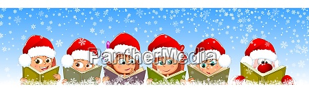 children and santa read books for