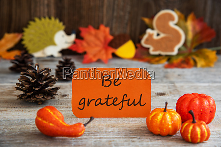 label with autumn decoration text be