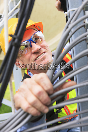 engineer looking at communications cable distribution