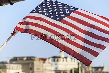 american flag flying in new shoreham