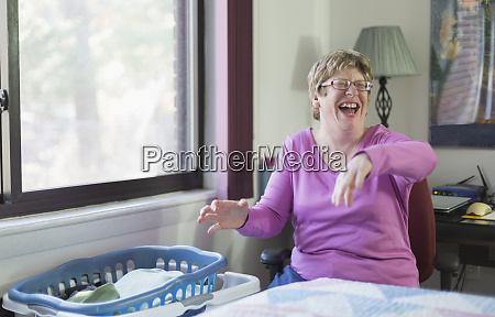 woman with autism laughing