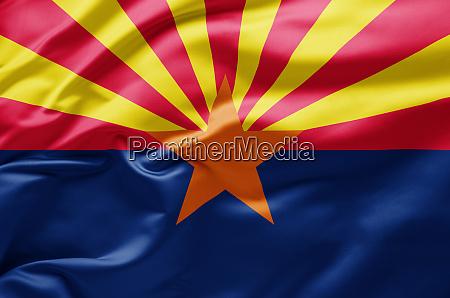 waving state flag of arizona