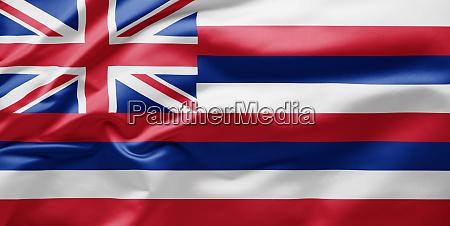 waving state flag of hawaii