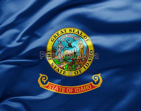 waving state flag of idaho