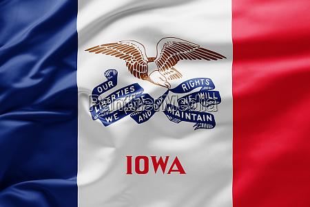 waving state flag of iowa