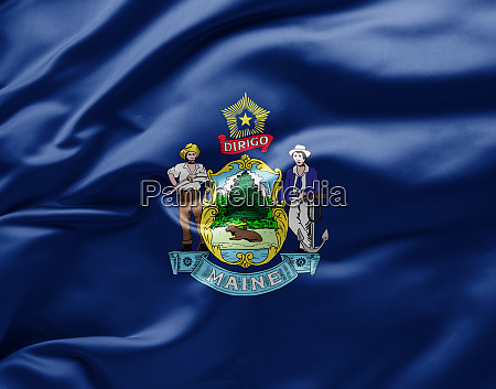 waving state flag of maine