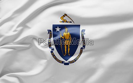 waving state flag of massachusetts