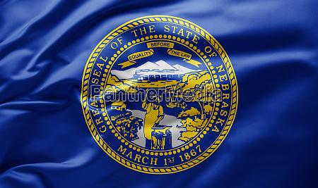 waving state flag of nebraska