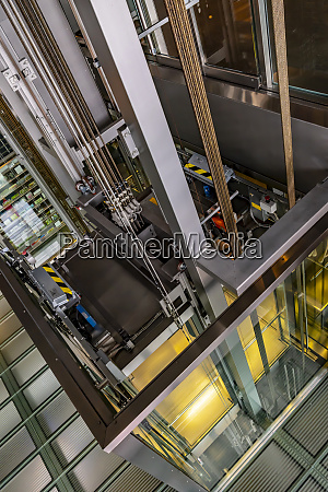 inner workings of a glass elevator