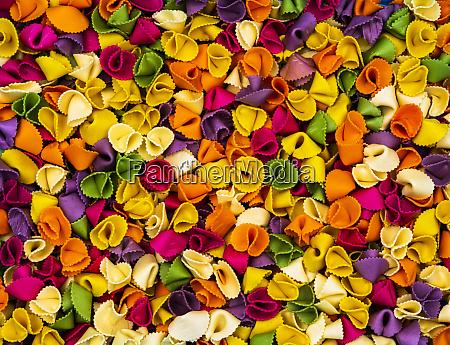 multi coloured farfalle pasta