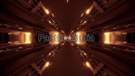 dark futuristic scifi tunnel corridor 3d