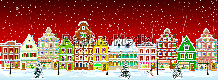 city winter snow night christmas