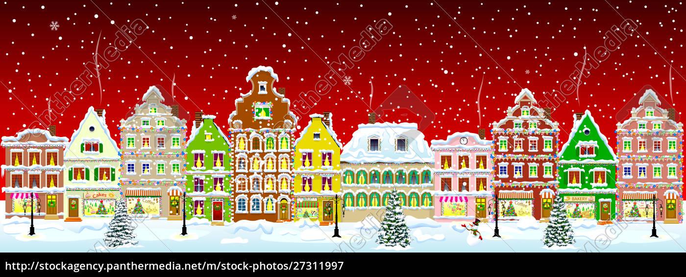 city, winter, snow, night, christmas - 27311997