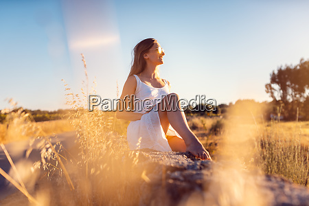 woman in her vacation sitting on