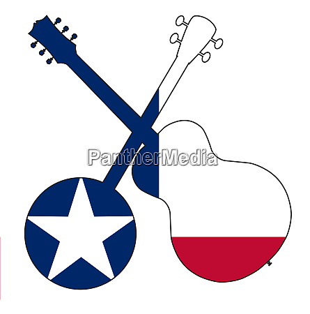 texas flag banjo and guitar silhouette