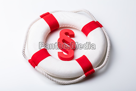 paragraph sign with life buoy on