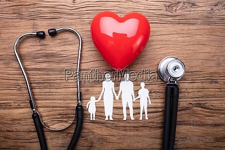 family cut out with stethoscope and
