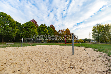 park with volleyball net