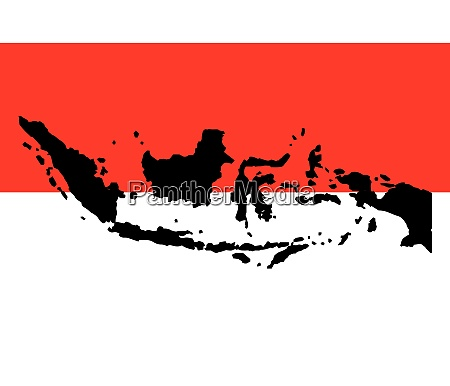 indonesia national flag and map