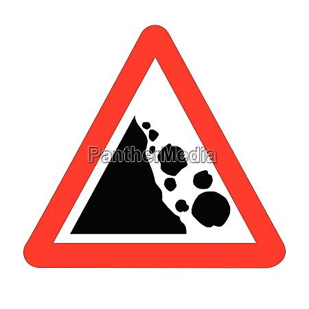 danger falling rocks traffic sign isolated