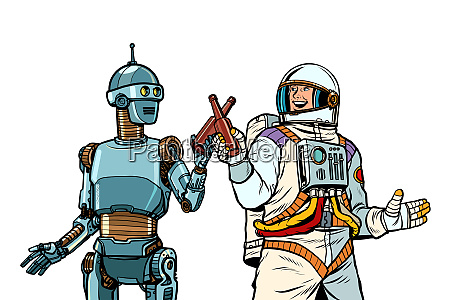robot and astronaut drink beer together