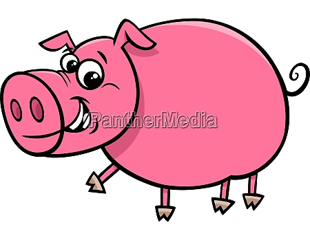 happy comic pig character cartoon illustration