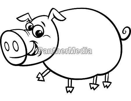 funny comic pig cartoon character color