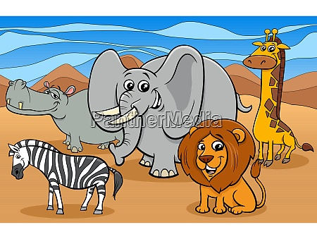 african animals cartoon characters group