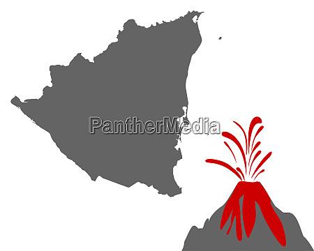karte von nicaragua mit vulkan