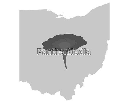 karte von ohio und tornadosymbol
