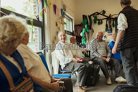bonding indoors with senior friends