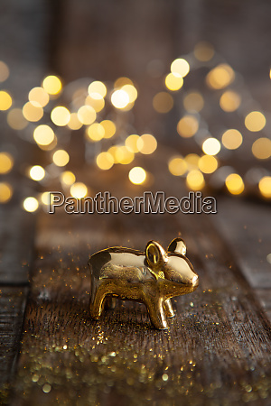 lucky pig in front of bokeh