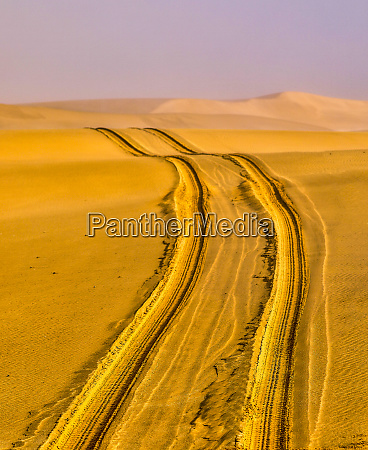 africa namibia tire tracks in the