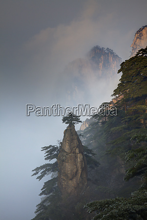 china yellow mountains evening light on