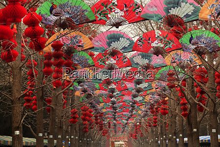 paper fans lucky red lanterns chinese