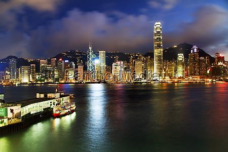 hong kong harbor at night from